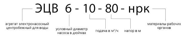 Расшифровка маркировки артезианского насоса ЭЦВ. Схема